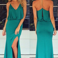 Green Halter Maxi Dress with Gold Chain T Back