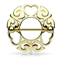 Gold Tribal Hearts Hollow Nipple Shield with 316L Surgical Steel Barbell 14ga Nipple Barbell