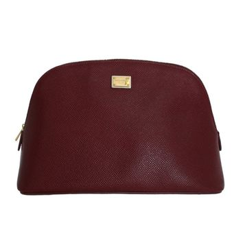 Dolce & Gabbana Bordeaux Leather Cosmetic Toiletry Bag