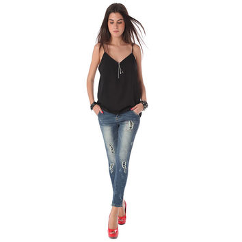 Women's Jeans In High Quality Fabric With Stud Embellished
