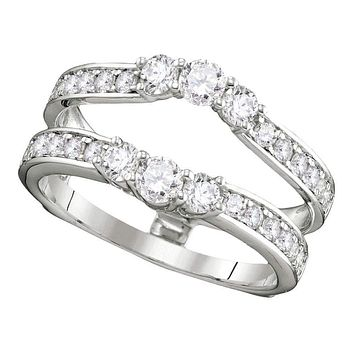 14kt White Gold Women's Round Diamond Ring Guard Wrap Solitaire Enhancer 1.00 Cttw - FREE Shipping (US/CAN)