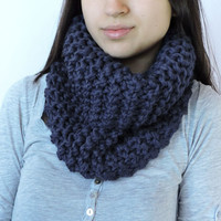 FREE SHIPPING Cozy scarf Chunky knit cowl Neck warmer Cable knit cowl Merino wool Navy Infinity cowl Hand knit neck warmer Tube cowl snood