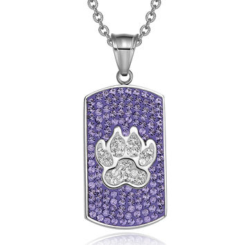 Wolf Paw Austrian Crystals Amulet Protection Powers Purple and White Dog Tag Pendant 18 Inch Necklace