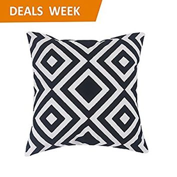 Home Brilliant Decorative Square Embroidery Throw Pillow for Bed Cushion Sham Geometric Pattern, 45x45 cm, Black and White