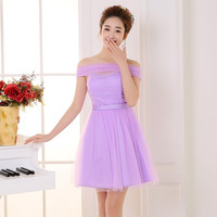 purple bridesmaid dresses short dress for wedding guests sister party formal dress prom dresses ROM80065