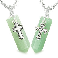 Holy Cross Charms Love Couple Green Quartz Crystal Points Pendant Necklaces