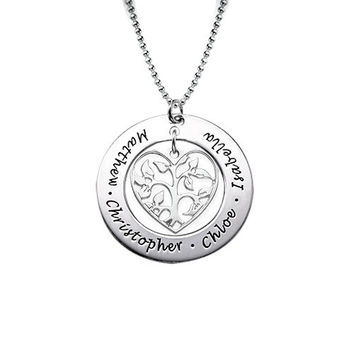 Sterling Silver Personalized Heart Family Tree Pendant Necklace