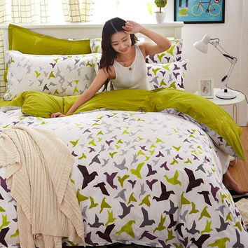 New cotton Duvet Cover set 3/4 pcs comforter Cover Bedding set lattice style Queen Full Twin size fast shipping no quilt