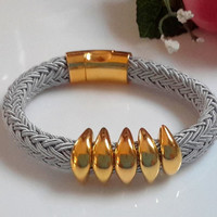 Gray Poly Braided Bracelet with Gold Spikes and Gold Magnetic Clasp
