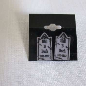 Will B Bach Punny grave / tombstone post earrings for halloween earring studs
