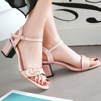 GUCCI Buckle Fashion women thick heels open-toed sandals shoes pink