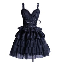 Black Ruffle Sweetheart Dress