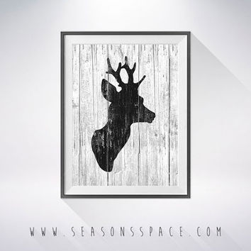 Deer Head art illustration, Deer painting, Nautical, Wall art,Rustic Wood art,Animal print,Home Decor,Animal silhouette, Deer silhouette