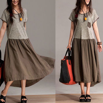 Cotton mixed colors casual dress / loose round neck summer dress