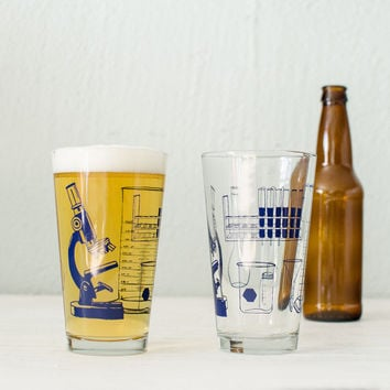 SCIENCE TOOLS glassware chemistry screen printed pint glasses