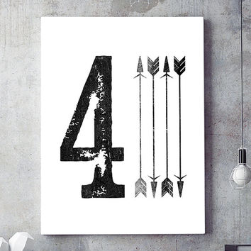 Number four art, number 4, wall art printable, contemporary print, printable art, modern print, black and white art, modern decor,poster art