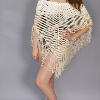 Ombre Crochet Shawl Vintage 90s does 70s Boho White Tan Poncho Fringe Sweater Grunge Hippie Beach SoCal Blouse Southwestern Beach Cover