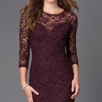 Short Glitter Lace Dress with 3/4 Length Sleeves