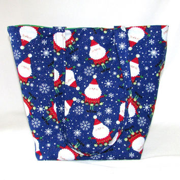 Santa Claus Tote Bag, Cloth Purse, Christmas Purse, Handmade Handbag, Snowflake, Fabric Bag, Shoulder Bag, Blue, Holiday Purse