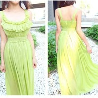 Conspicuous Vacation Decorated Round Neck Shaped Waist Strappy Long Dress 4 Colors
