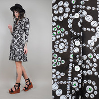 BUTTON print vtg 70's MOD mini shirt dress 60's dolly NOVELTY go-go Scooter