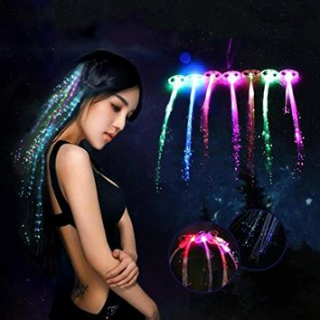 Hair Braided Clip Hairpin Colorful LED Glowing Flash Lights RAVE PARTY