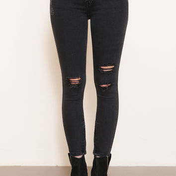 Marian Black Distressed Denim