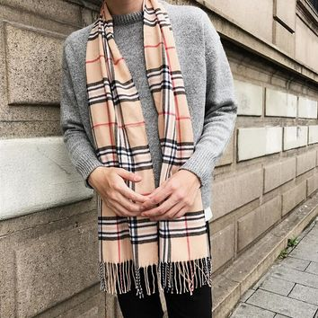 Soft Plaid Check Winter Scarf Warm Oblong Fringe Unisex Gift
