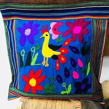 """Mexican Handmade Pillow Case """"Pavo Real"""""""