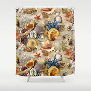 Fancy Seashells And Starfish Shower Curtain by DMiller