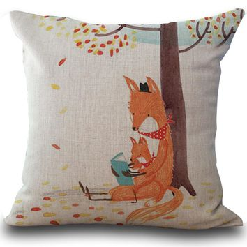Reading Foxes Crazy Like a Fox Decorative Pillow Case Linen Cotton Home Decor