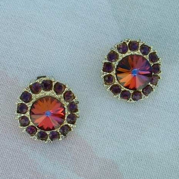 Mystic Topaz Watermelon Clip Earrings Rivoli Rhinestones