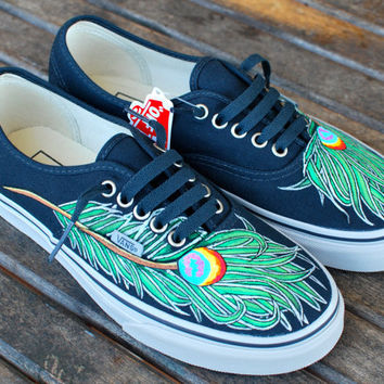 Wavy Peacock Feather Vans shoes