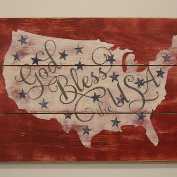 God Bless The USA Pallet Sign American Wall Decor Vintage United States Wall Art July Fourth Deco Rustic Americana Handmade Handpainted