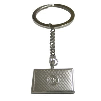 Silver Toned Etched Tunisia Flag Pendant Keychain