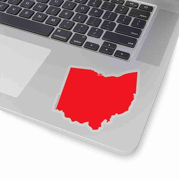 Ohio State Shape Sticker RED