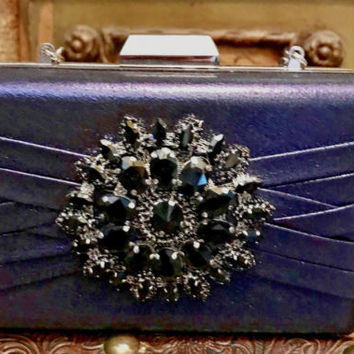 Jeweled Navy Blue Metallic Evening Clutch Shoulder Bag