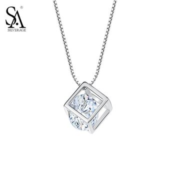 SA SILVERAGE Silver Pendant Cube 925 Sterling Silver Jewelry With CZ Women Fashion Necklaces & Pendants Jewelry Party Gift