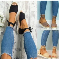 Women Flat Ankle Wrap Sandals