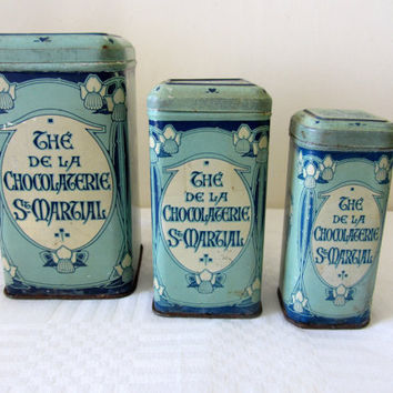 Rare Antique French Tea Tins Canisters Home Decor Storage