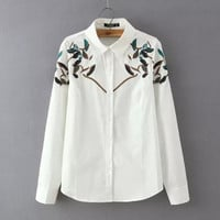 Leaf Embroidery Long-Sleeve Button Collar Shirt
