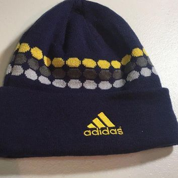 CUPUPI8 BRAND NEW ADIDAS NAVY WITH YELLOW DOTS KNIT HAT SHIPPING