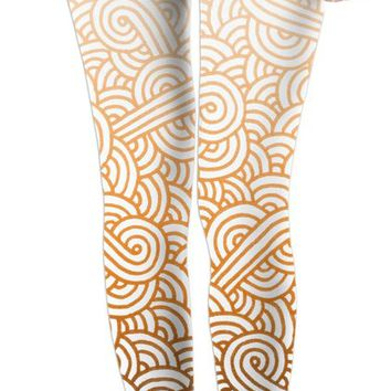 Gradient orange and white swirls doodles Leggings