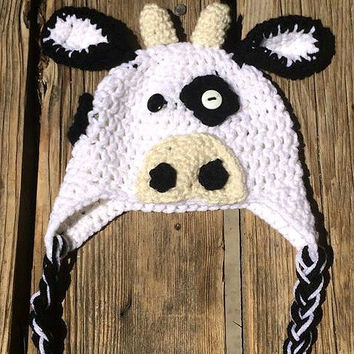 Crochet Cow Character Winter or Photo Prop Hat 0-3 months Ready To ship