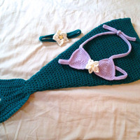 Made to Order Baby Mermaid Costume - Newborn - 12 Months - Perfect for Photo Prop