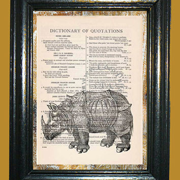 African Dinosaur Rhino Armor Plated Art - Vintage Dictionary Book Page Art Upcycled Page Art Dinosaur Rhino Print
