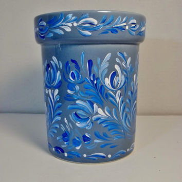 Blue Pottery Storage Utensil Jar Rosemaled Vintage Hand Painted Scandinavian Design Rosemaling, Kitchen Organizing Folk Art Style.