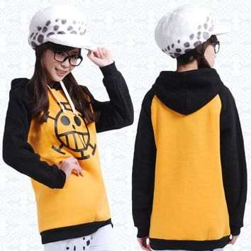 Anime One Piece Trafalgar Law Thicken Hoodie Cosplay Costumes Hooded Pullover Jacket Daily Casual Fleece Sweatshirt