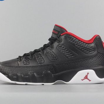 [Free Shipping ]Nike Air Jordan Retro 9 Low Bred Black Red BG GS 833447-001  Basketball Sneaker