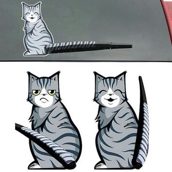 Cartoon Cat With Moving Tail Rear Windshield Wiper Reflective Car Stickers
